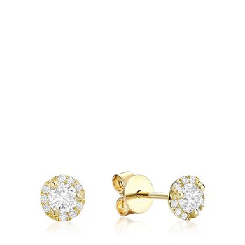 Martini Cup Diamond Halo Stud Earrings