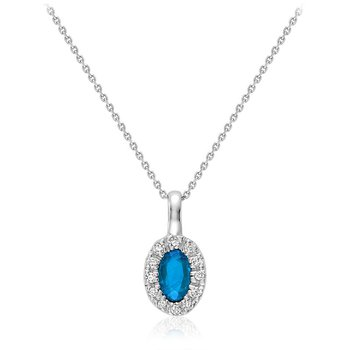 Oval Blue Topaz & Diamond Halo Pendant