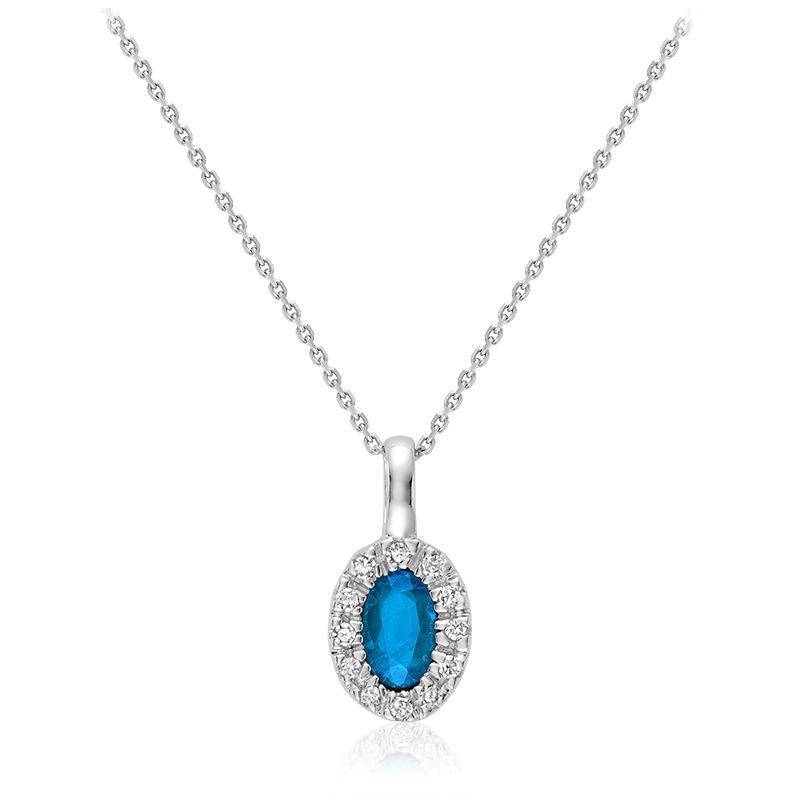 RNB Bijoux Jewellery Oval Blue Topaz & Diamond Halo Pendant