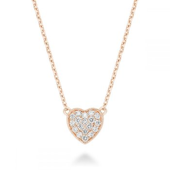 Heart Diamond Milgrain Necklace