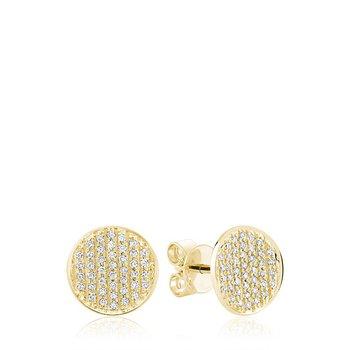 Curved Disk Diamond Stud Earrings