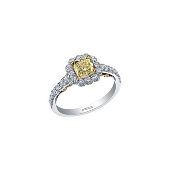 Halo Yellow Diamond Ring