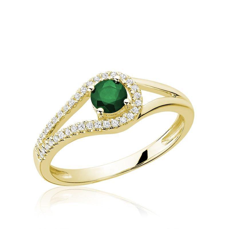 RNB Bijoux Jewellery Split Shank Emerald & Diamond Ring