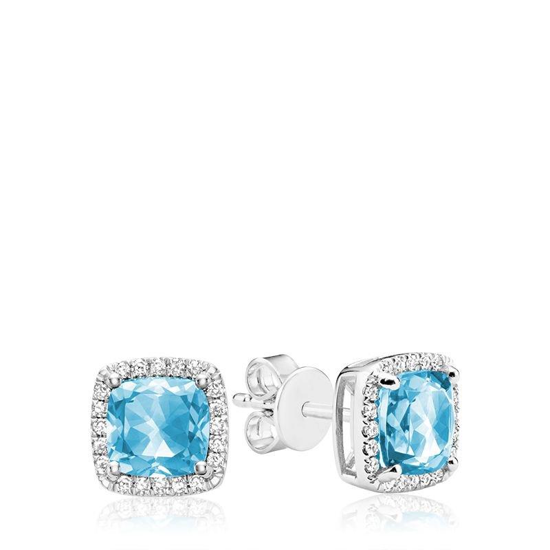 RNB Bijoux Jewellery Cushion Cut Blue Topaz & Diamond Halo Earrings