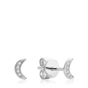 Illusion Diamond Moon Stud Earrings