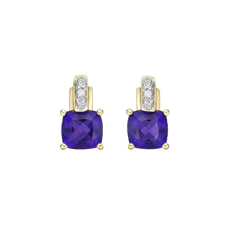 The Collection Amethyst And Diamond Earrings