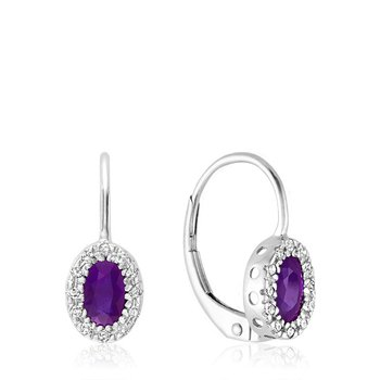 Oval Amethyst & Diamond Halo Dangle Earrings