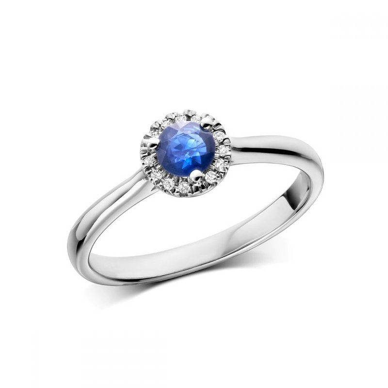 RNB Bijoux Jewellery Blue Sapphire & Diamond Halo Ring