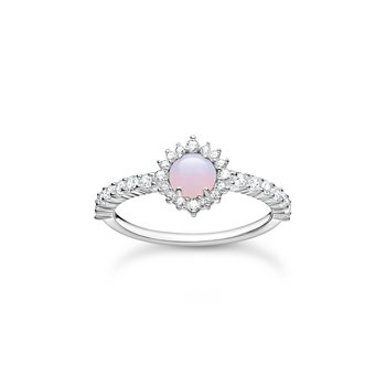 Ring Opal- Coloured Stone Shimmering Pink
