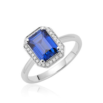 Created Sapphire And Diamond Ring