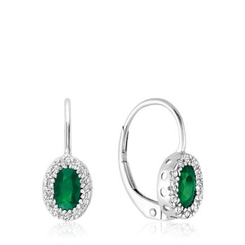 Oval Emerald & Diamond Halo Dangle Earrings