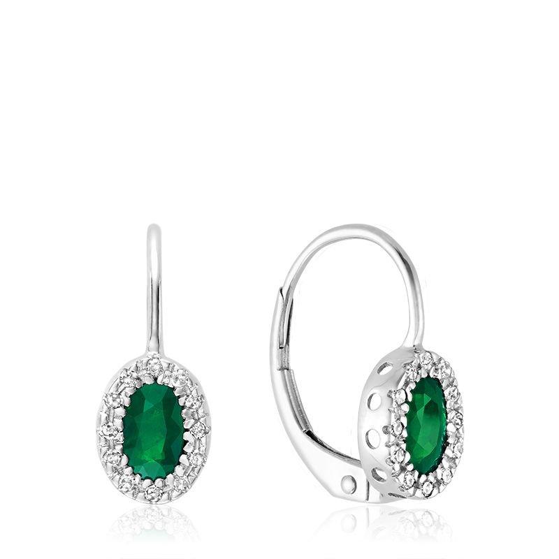 RNB Bijoux Jewellery Oval Emerald & Diamond Halo Dangle Earrings