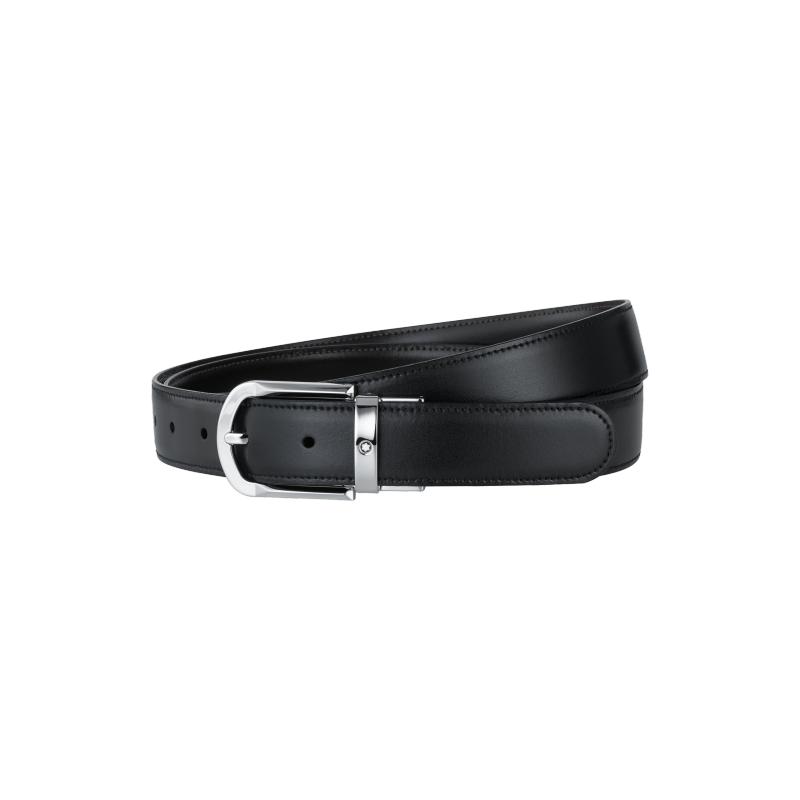 Montblac Revolving Rounded Horseshoe Shiny Palladium Coated Reversible Black/Brown Belt