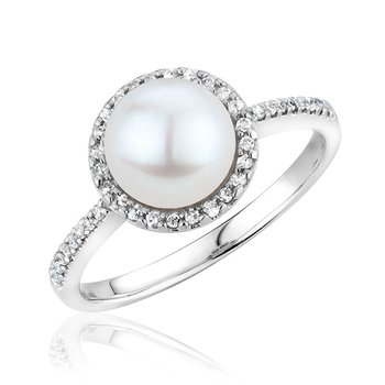 Cultured Freshwater Pearl & Diamond Halo Ring