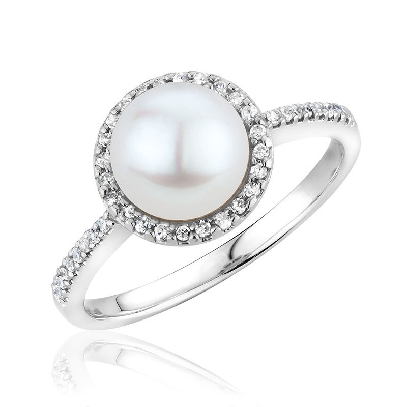 RNB Bijoux Jewellery Cultured Freshwater Pearl & Diamond Halo Ring