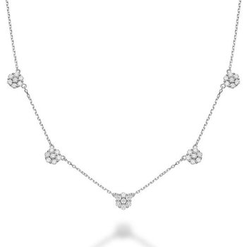 Flower Stationed Diamond Necklace