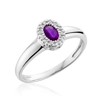 Halo Diamond And Amethyst Ring