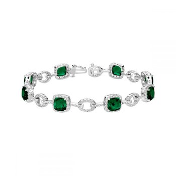 Created Emerald and Diamond Bracelet