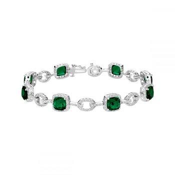 Created Emerald and Diamond Bracelet