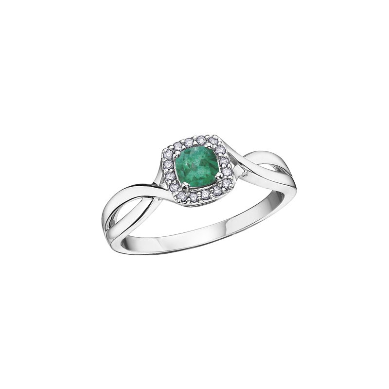 The Collection Emerald and Diamond Halo Ring