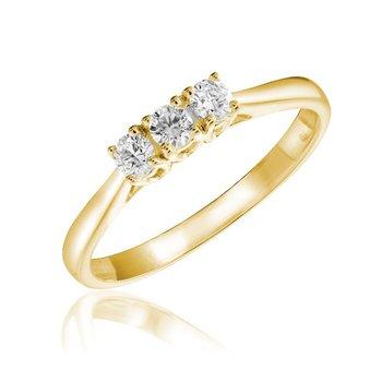 Three Stone Solitaire Diamond Ring