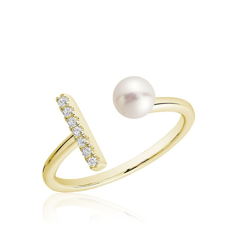 RNB Bijoux Jewellery Open Pearl Ring with Diamonds