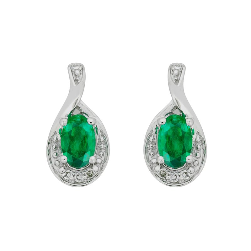 The Collection Emerald And Diamond Earrings