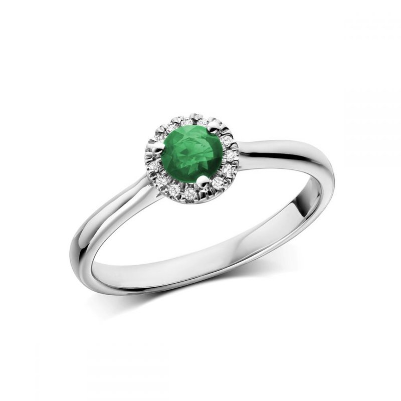RNB Bijoux Jewellery Emerald & Diamond Halo Ring