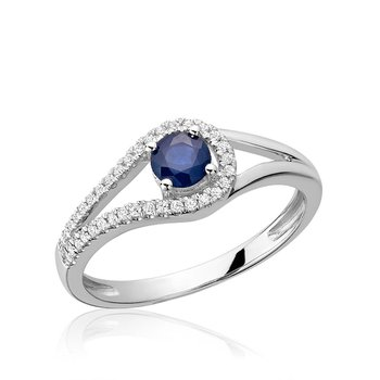 Split Shank Blue Sapphire & Diamond Ring