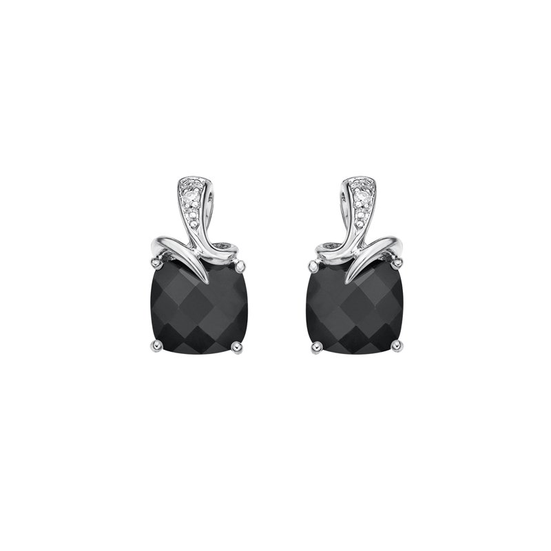 The Collection Onyx And Diamond Stud Earrings