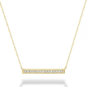 Bar Diamond Milgrain Necklace