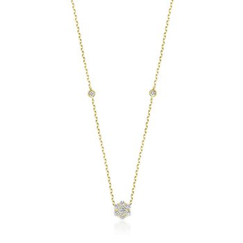 Flower & Bezel Diamond Necklace