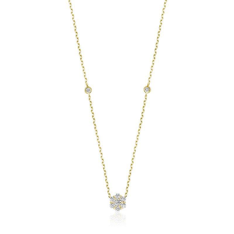 RNB Bijoux Jewellery Flower & Bezel Diamond Necklace