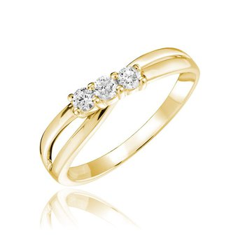 Three Stone Solitaire Fashion Ring