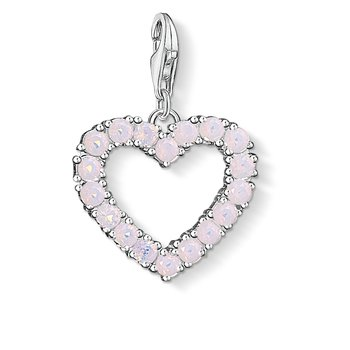 Charm Pendant Heart With Hot Pink Stones