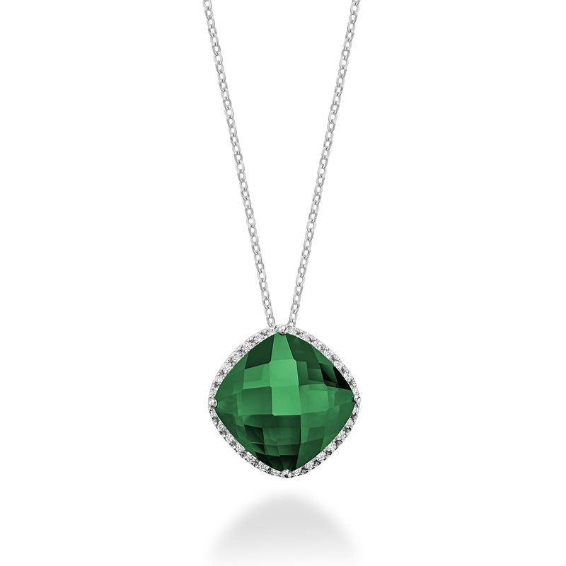 RNB Bijoux Jewellery Created Emerald and Diamond Pendant