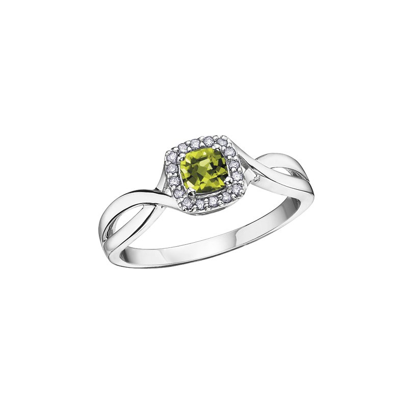 The Collection Peridot and Diamond Halo Ring