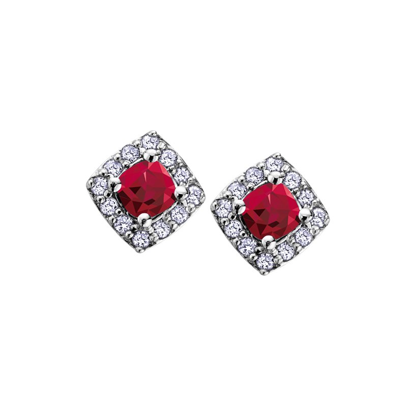 The Collection Ruby and Diamond Halo earrings