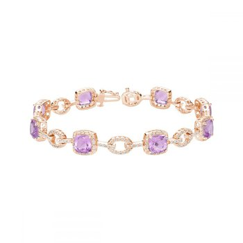 Pink Amethyst & Diamond Bracelet