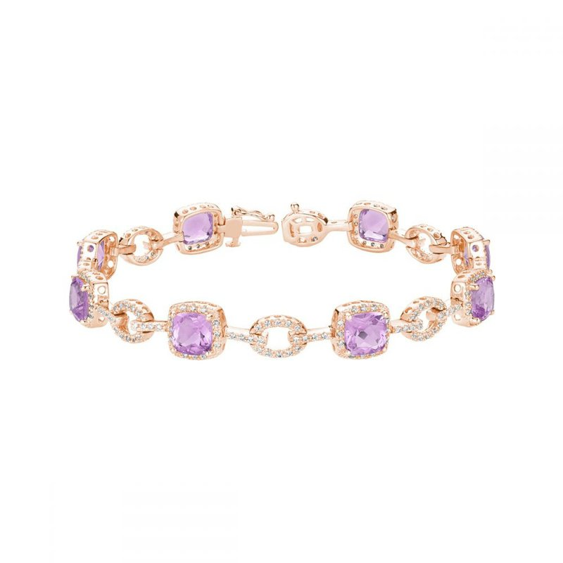RNB Bijoux Jewellery Pink Amethyst & Diamond Bracelet