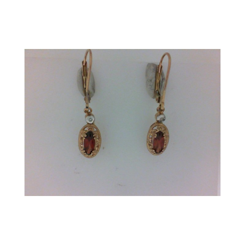 The Collection Garnet And Diamond Drop Earrings