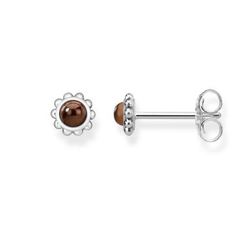 "Sterling Silver Tigers Eye Stud Earrings  ""Ethnic Brown"""