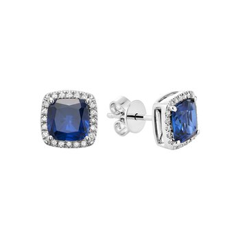 Created Blue Sapphire And Diamond Studs