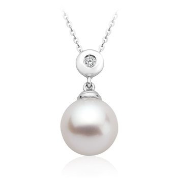 Cultured Freshwater Pearl & Diamond Bezel Set Pendant