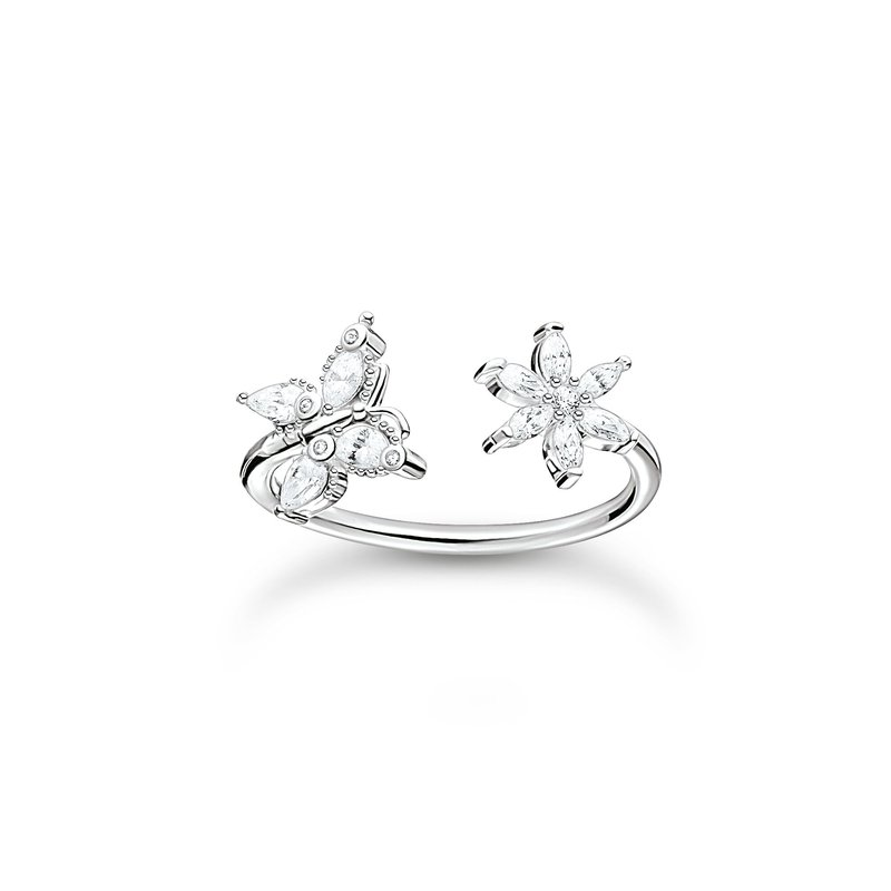 Thomas Sabo Ring Butterfly With Flower Stones