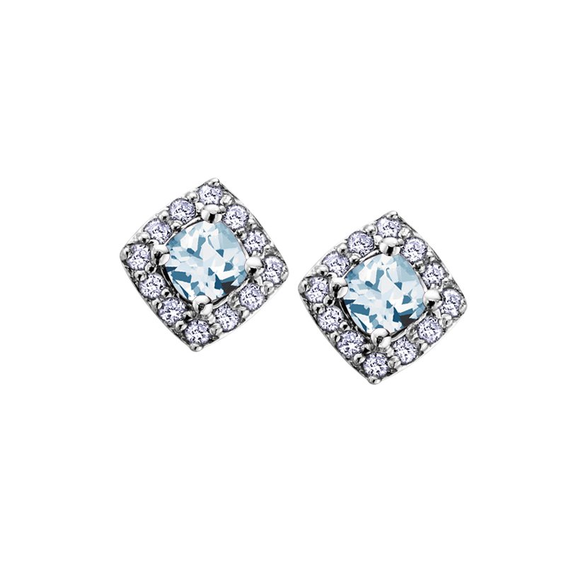 The Collection Aquamarine and Diamond Halo Earrings