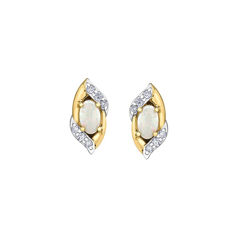 The  Collection Opal and Diamond Earrings