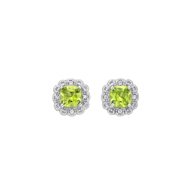 The  Collection Peridot And Diamond Stud Earrings
