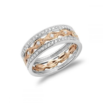 Three Row Pave Diamond & Marquise Milgrain Ring