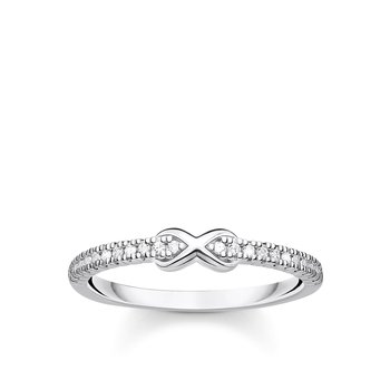 Ring Infinity With White Stones Silver